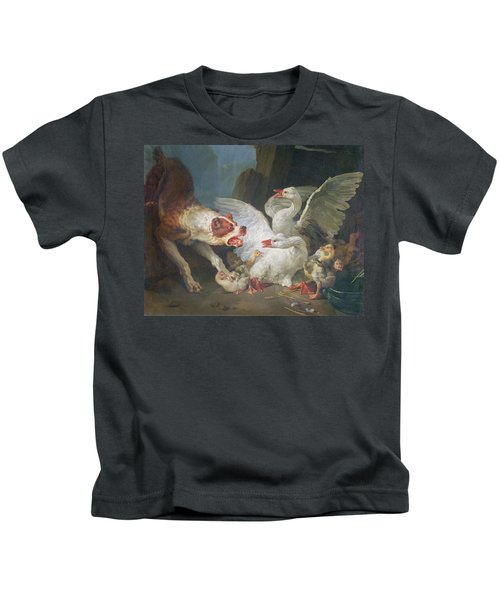 A Dog Attacking Geese, 1769 Oil On Canvas Kids T-Shirt