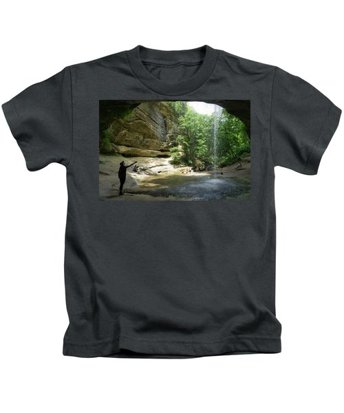 A Female Touches The Water Kids T-Shirt