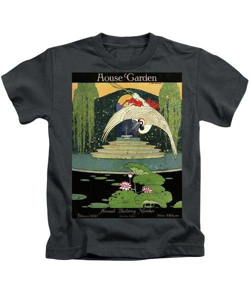 A House And Garden Cover A Bird Over A Pond Kids T-Shirt