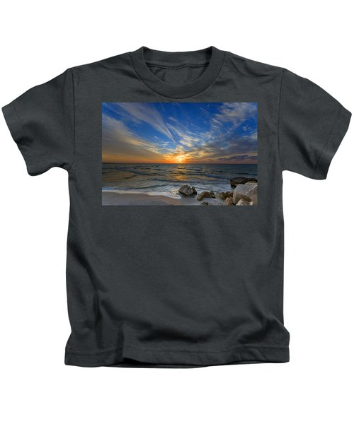 A Majestic Sunset At The Port Kids T-Shirt