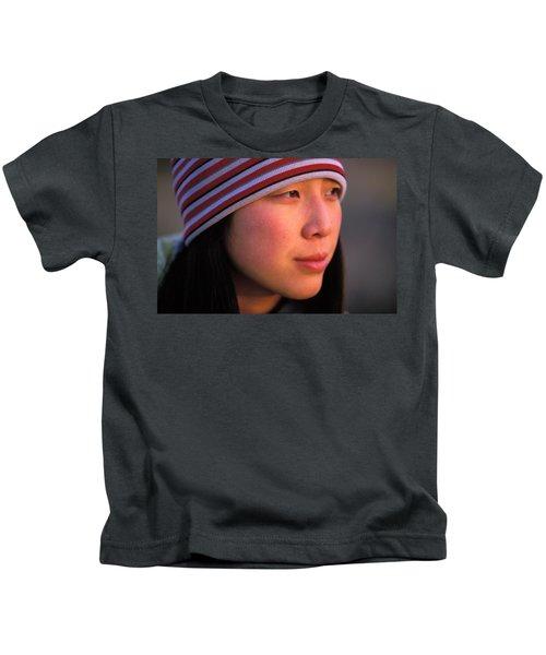 A Portrait  Headshot Of An Active Woman Kids T-Shirt