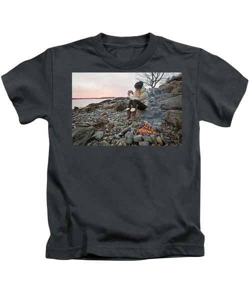 A Woman Takes A Cell Phone Picture Kids T-Shirt