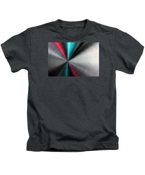 Abstract Metallic Texture With Blue And Red Ray Pattern. Kids T-Shirt