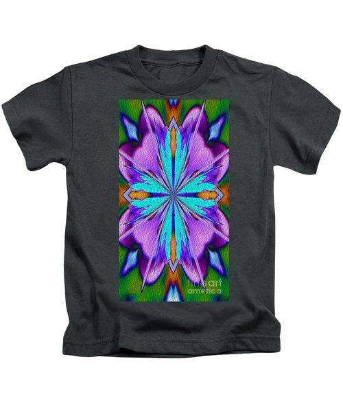 Abstract Purple Aqua And Green Kids T-Shirt