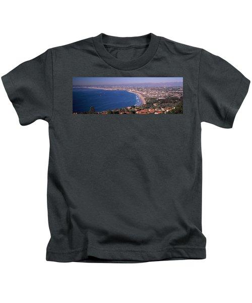 Aerial View Of A City At Coast, Santa Kids T-Shirt
