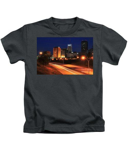 D1u-140 Akron Ohio Night Skyline Photo Kids T-Shirt