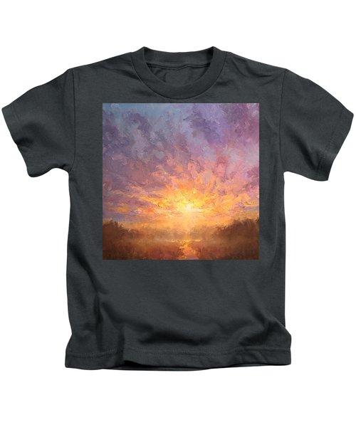 Impressionistic Sunrise Landscape Painting Kids T-Shirt
