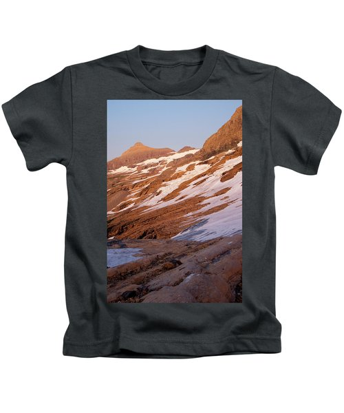 Alpenglow At The Jackson Glacier Kids T-Shirt