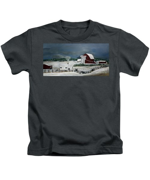 Amish Farm - Winter - Michigan Kids T-Shirt