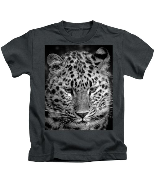 Amur Leopard In Black And White Kids T-Shirt