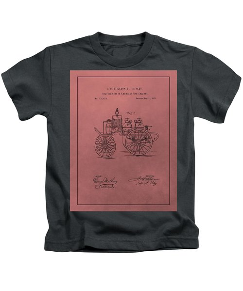 Antique Fire Engine Patent On Red Kids T-Shirt