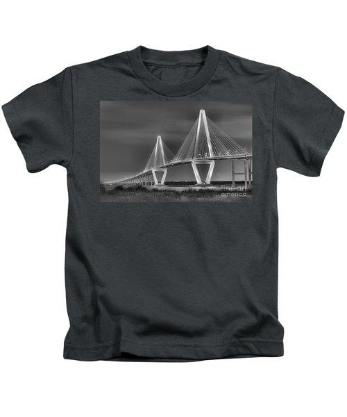 Arthur Ravenel Jr. Bridge In Black And White Kids T-Shirt