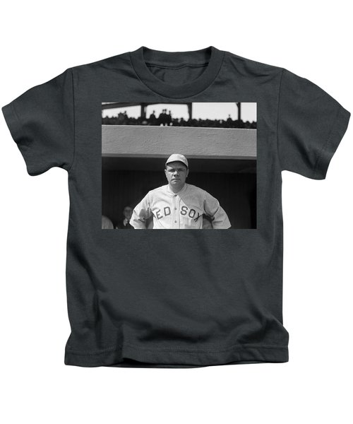 Babe Ruth In Red Sox Uniform Kids T-Shirt by Underwood Archives