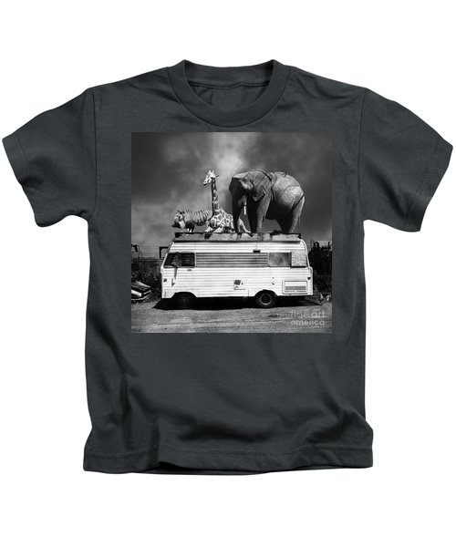 Barnum And Bailey Goes On A Road Trip 5d22705 Square Black And White Kids T-Shirt