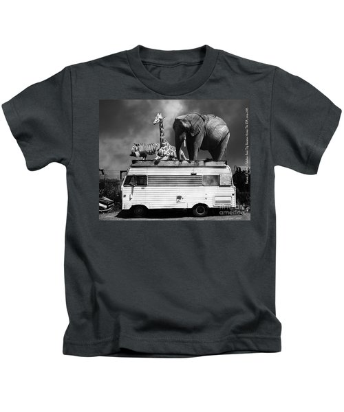 Barnum And Baileys Fabulous Road Trip Vacation Across The Usa Circa 2013 22705 Black White With Text Kids T-Shirt