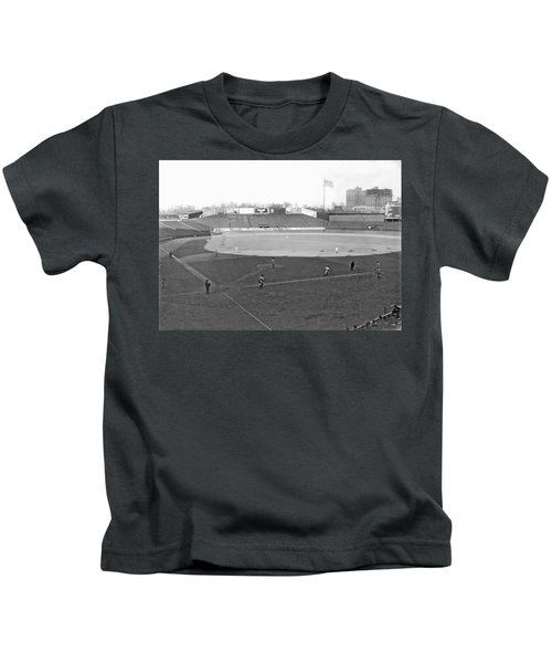 Baseball At Yankee Stadium Kids T-Shirt by Underwood Archives