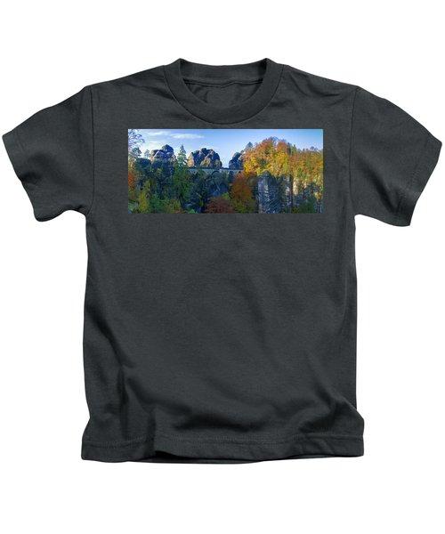Bastei Bridge In The Elbe Sandstone Mountains Kids T-Shirt