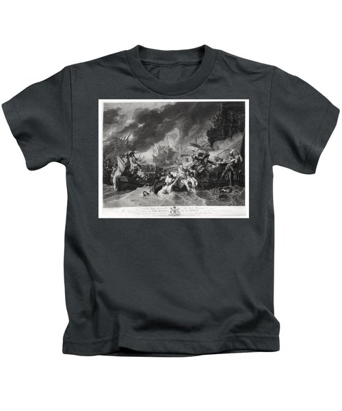Battle Of The Hague, 29th May 1692, Engraved By William Woollett 1735-85 1781 Aquatint Bw Photo Kids T-Shirt
