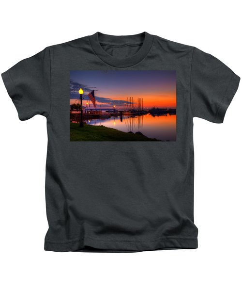 Bayfield Wisconsin Fire In The Sky Over The Harbor Kids T-Shirt