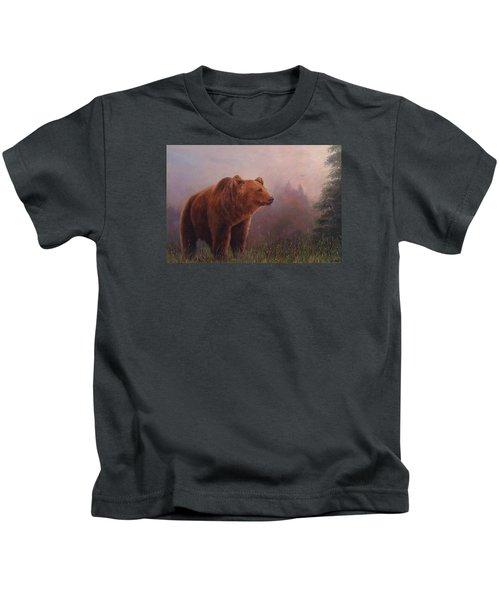 Bear In The Mist Kids T-Shirt