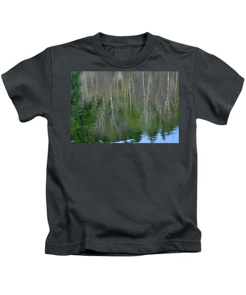 Birch Trees Reflected In Pond Kids T-Shirt