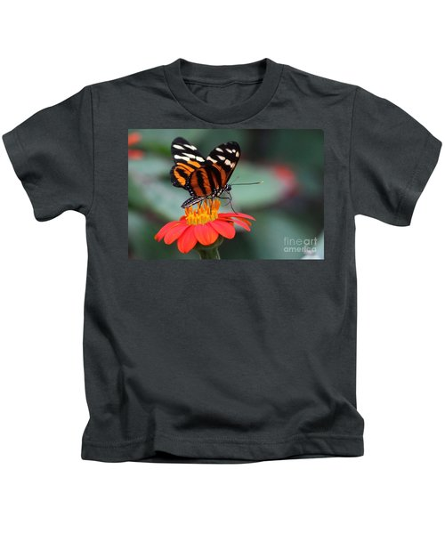 Black And Brown Butterfly On A Red Flower Kids T-Shirt