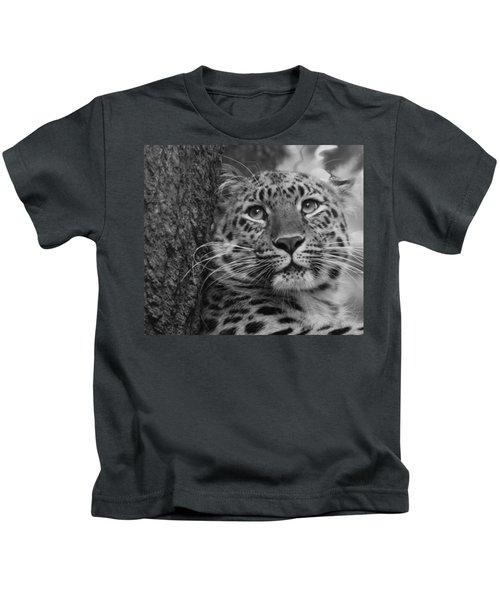 Black And White Amur Leopard Kids T-Shirt