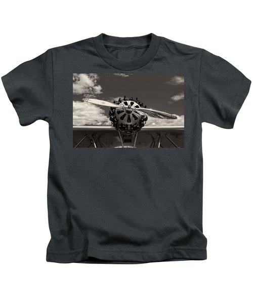 Black And White Close-up Of Airplane Engine Kids T-Shirt