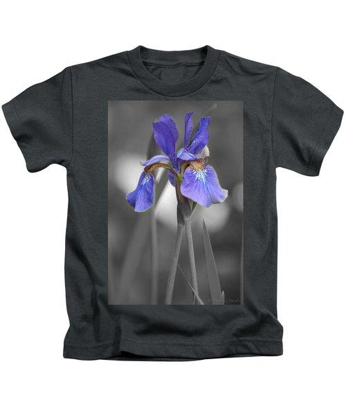 Black And White Purple Iris Kids T-Shirt