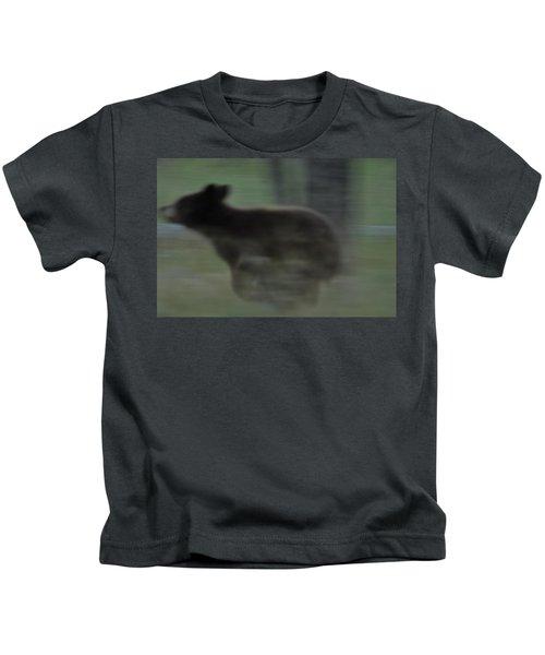 Black Bear Cub Running Kids T-Shirt
