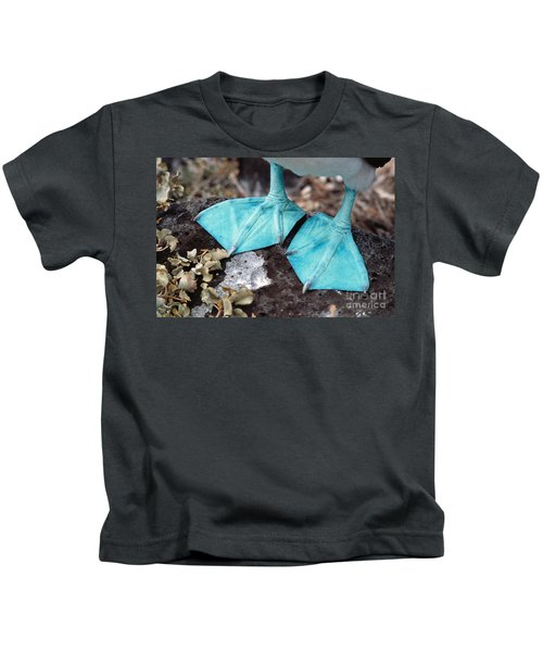 Blue-footed Booby Feet Kids T-Shirt by Ron Sanford
