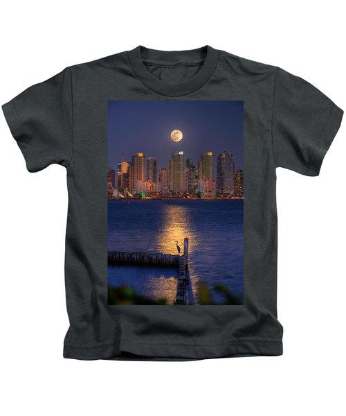 Blue Heron Moon Kids T-Shirt