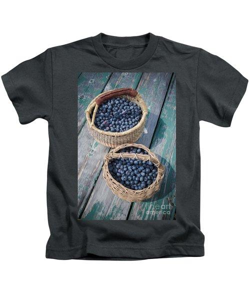 Blueberry Baskets Kids T-Shirt by Edward Fielding