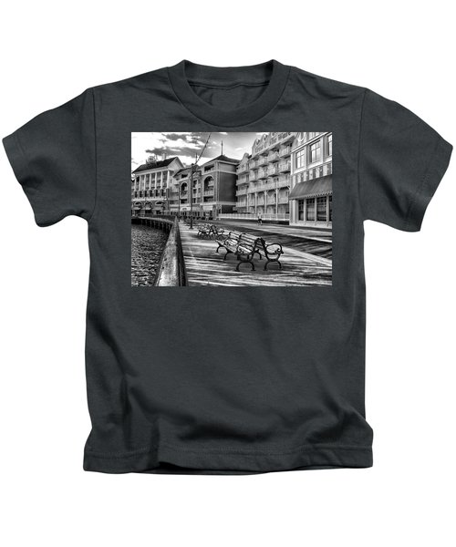 Boardwalk Early Morning In Black And White Walt Disney World Kids T-Shirt
