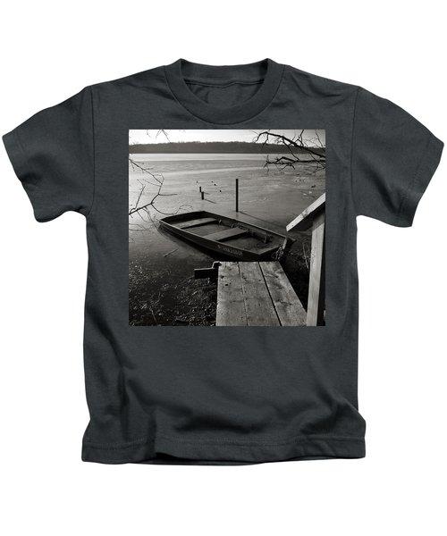 Boat In Ice - Lake Wingra - Madison - Wi Kids T-Shirt