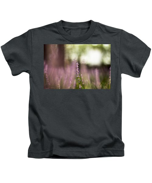 Bokeh With Purple Wildflower Kids T-Shirt