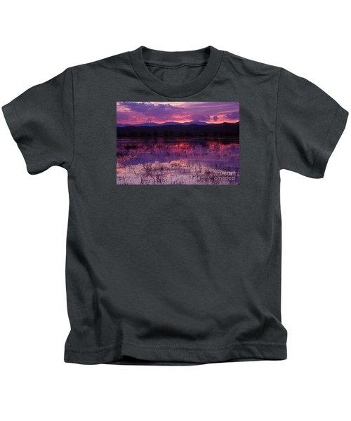 Bosque Sunset - Purple Kids T-Shirt