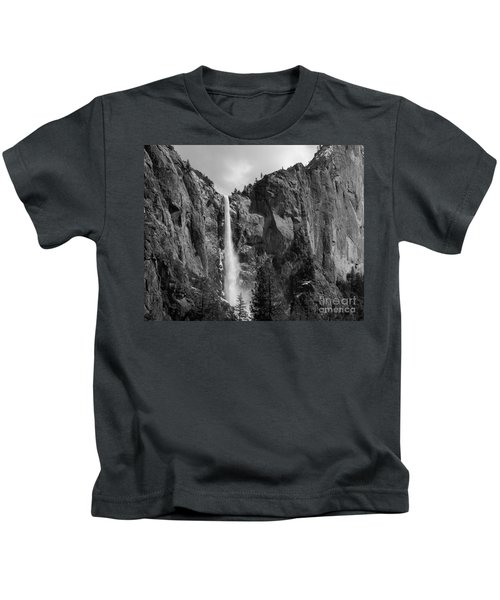 Bridalveil Falls In B And W Kids T-Shirt