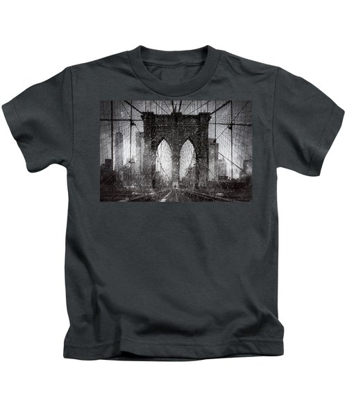 Brooklyn Bridge Snow Day Kids T-Shirt