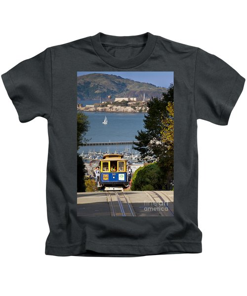 San Francisco Cable Car On Hyde Street Print By Brian Jannsen Photography Kids T-Shirt