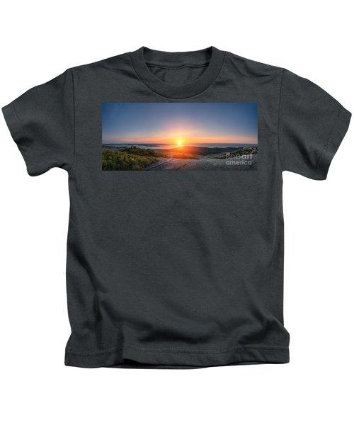 Cadillac Mountain Sunrise Panorama Kids T-Shirt