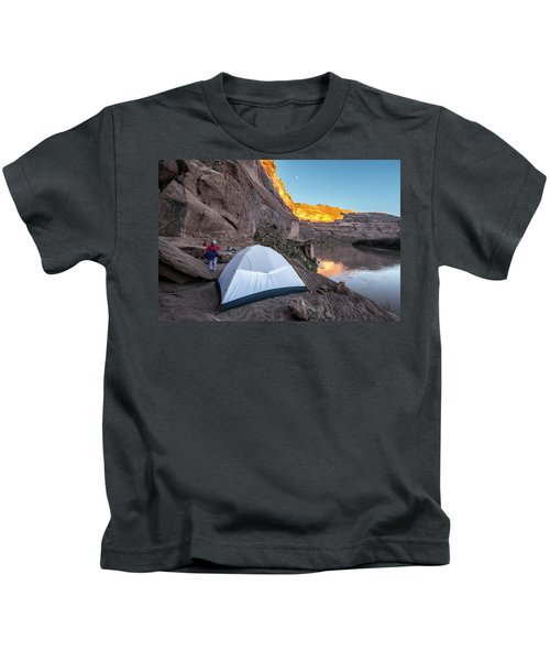 Camping Along The Labyrinth Canyon Kids T-Shirt