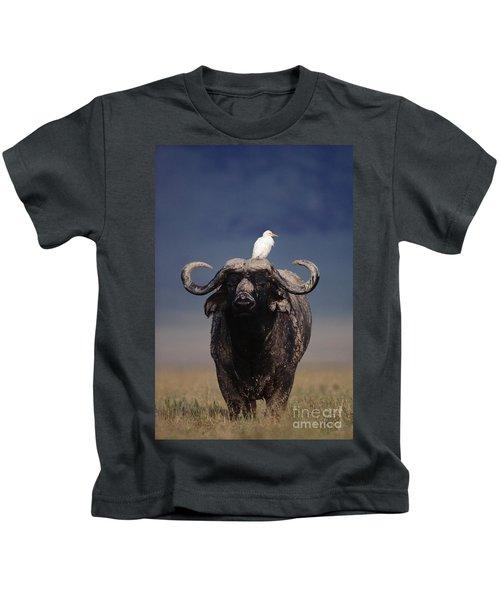 Cape Buffalo With Cattle Egret In Tanzania Kids T-Shirt