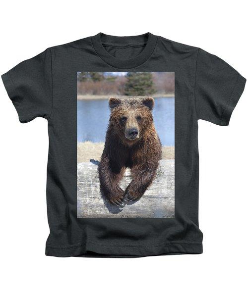 Captive Female Brown Bear At The Alaska Kids T-Shirt