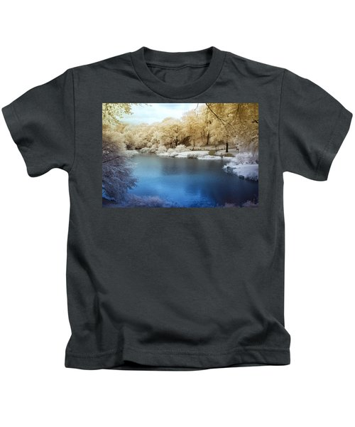 Central Park Lake Infrared Kids T-Shirt