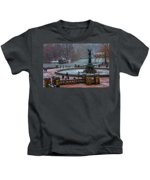 Central Park Snow Storm Kids T-Shirt