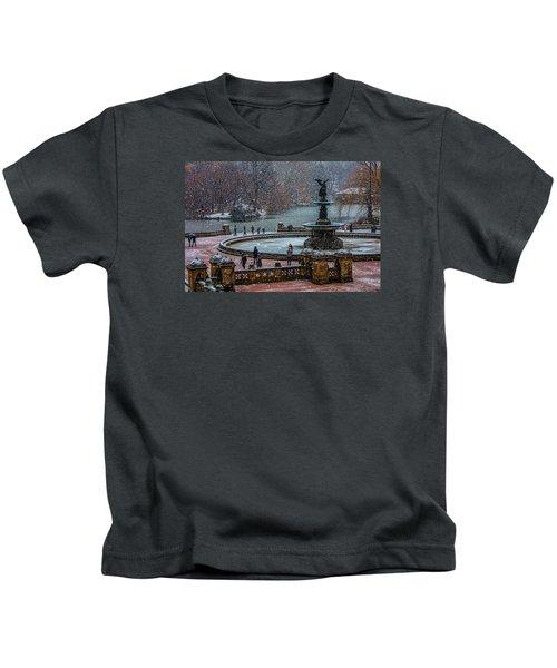 Central Park Snow Storm Kids T-Shirt