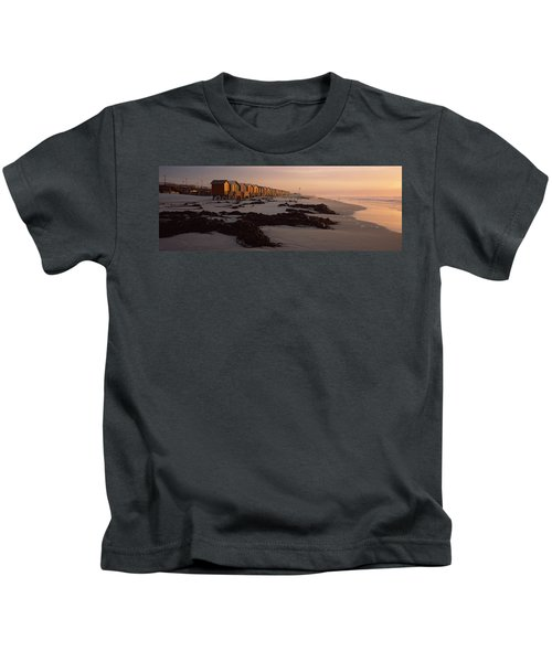 Changing Room Huts On The Beach Kids T-Shirt