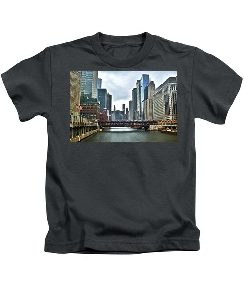 Chicago River And City Kids T-Shirt