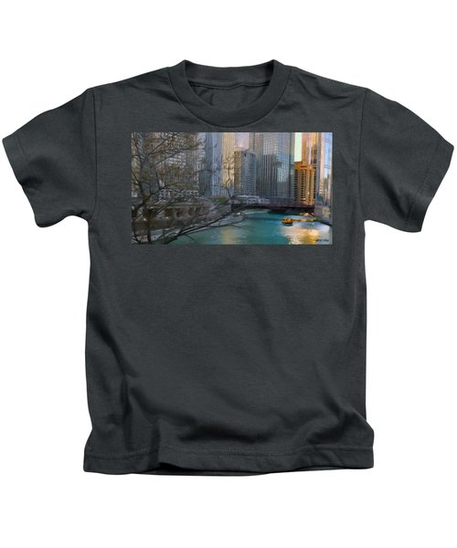 Chicago River Sunset Kids T-Shirt